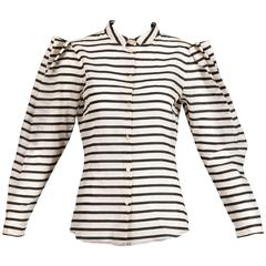 1980s Krizia Vintage Striped Avant Garde Blouse