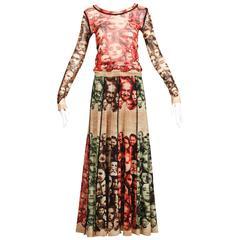 "Jean Paul Gaultier Mesh ""Faces"" Top + Skirt Dress Ensemble"