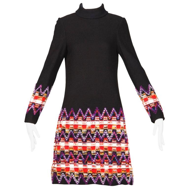 1960s Teal Traina Vintage Knit Dress