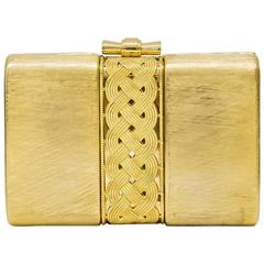 1980's Rodo Gold Hard Clutch with Braided Detail