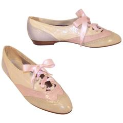 1980's Nina Pastel Wingtip Spectator Leather Shoes Sz 8M