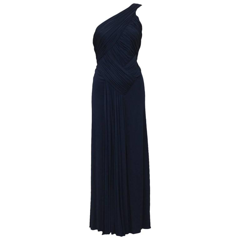 1980's Scaasi Navy Blue One Shoulder Gown