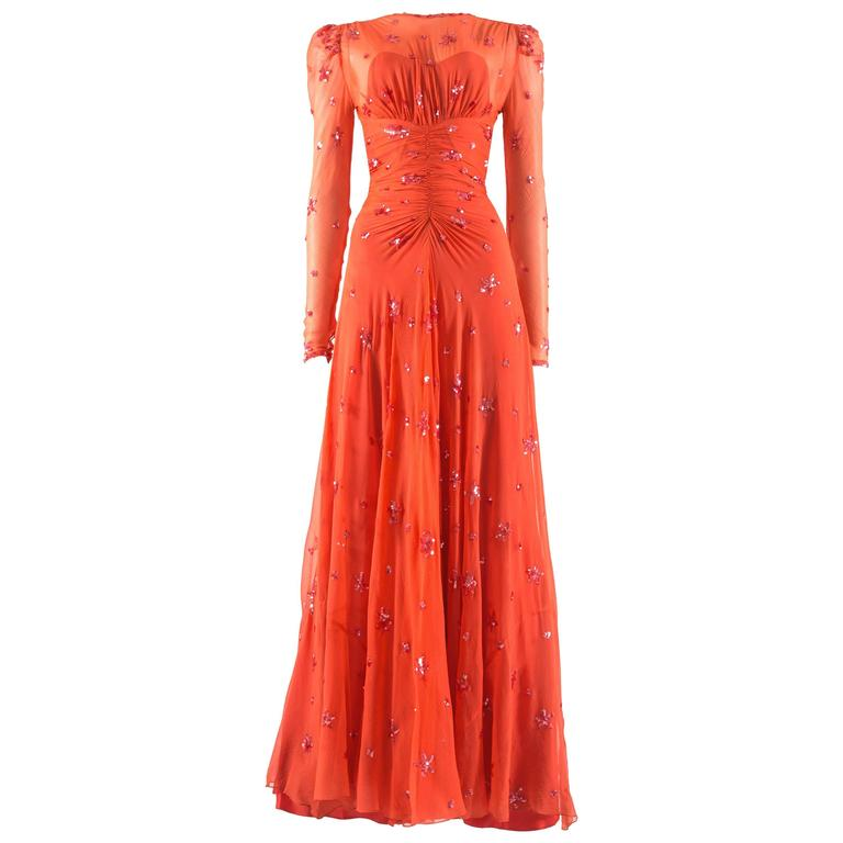 1930s coral silk chiffon evening dress with sequinned star embellishment