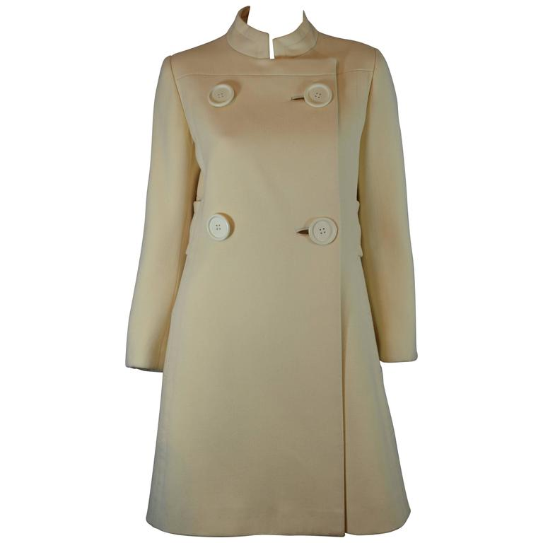 1960's Structured Wool Ladies Proper Coat with Oversize Buttons