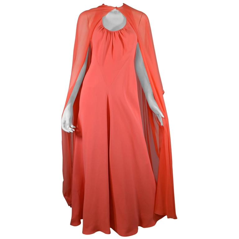 Stavropoulos Coral Halter Gown With Chiffon Cape