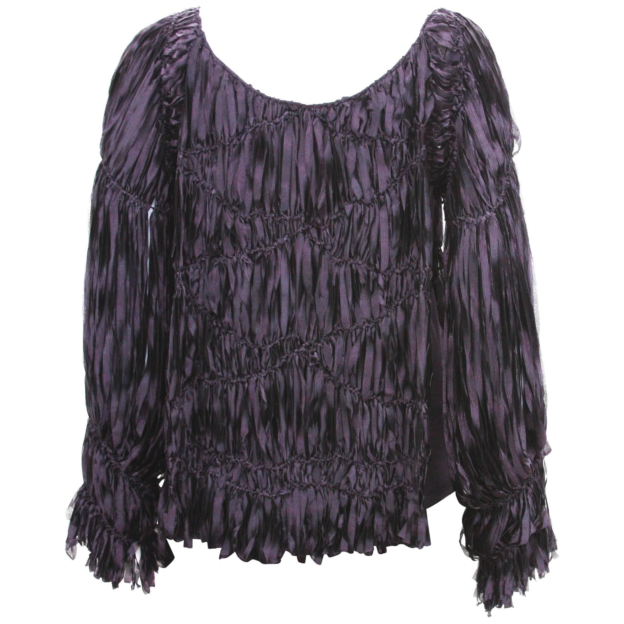 A/W 2001 Tom Ford for Yves Saint Laurent Shredded Silk Ribbon Sweater Top It. M