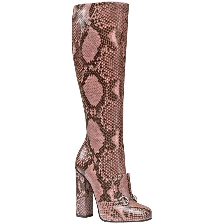 New GUCCI Campaign Python Horsebit Knee High Boots Pink US 7,10