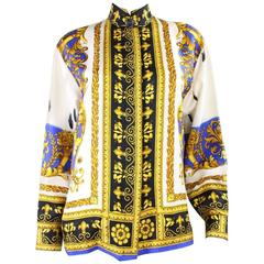 1990's Gianni Versace Silk Blouse with Baroque Print