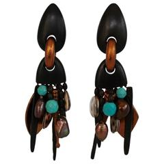 Monies Pearl, Ebony, Copper, Shell and Turquoise Statement Clips