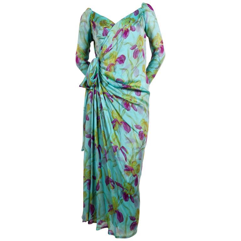 1970's YVES SAINT LAURENT haute couture floral silk dress