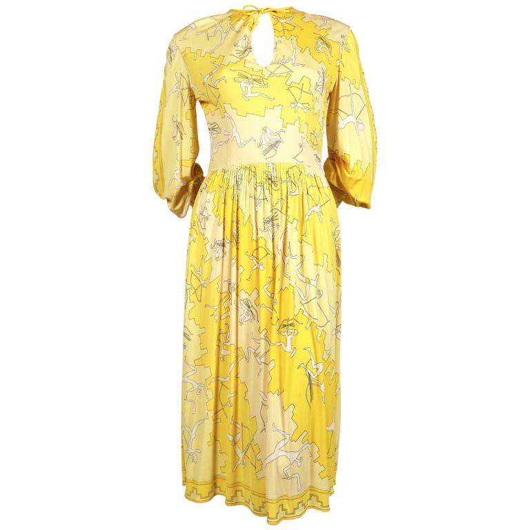 1970's EMILIO PUCCI archery print silk jersey dress with hand stitching