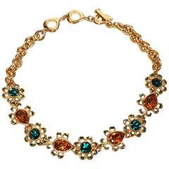 YVES SAINT LAURENT faceted glass & enameled gilt necklace