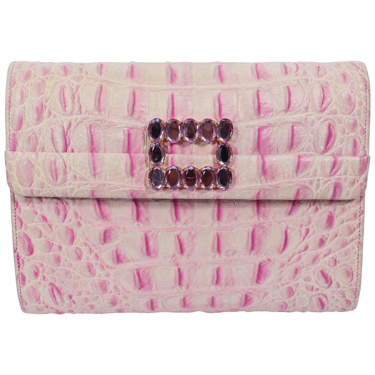 ANDREA PFISTER Pink and White Crocodile Embossed Leather Clutch with  Rhinestone