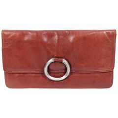 BOTTEGA VENETA Vintage Cognac Leather Clutch with Silver Ring Detail