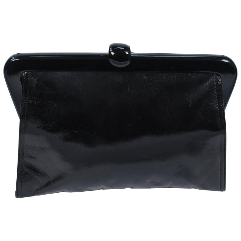 BOTTEGA VENETA Vintage Black Polished Calfskin Clutch with Latch Clasp