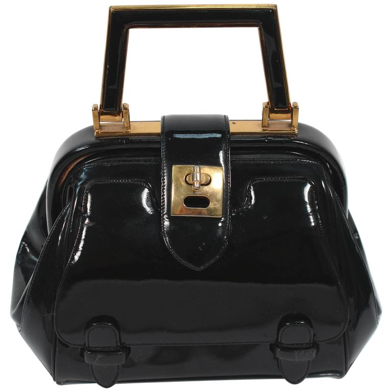 JUDITH LEIBER Vintage Rare 1960's Black and Gold Patent Leather Petite Purse  For Sale