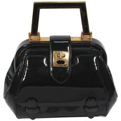 JUDITH LEIBER Vintage Rare 1960's Black and Gold Patent Leather Petite Purse