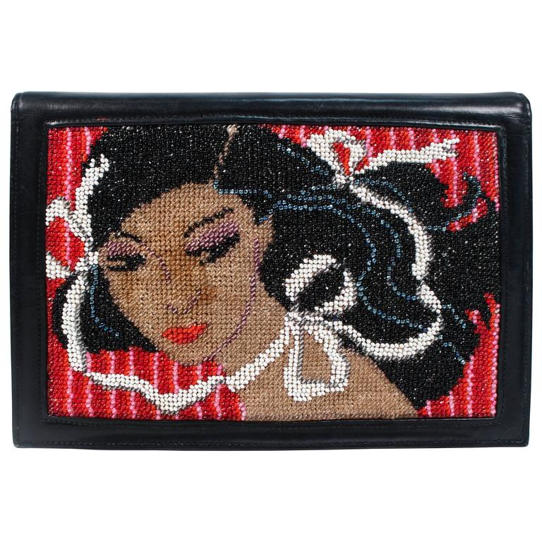Vintage Black Leather Portrait Art Beaded Clutch with Optional Gold Chain