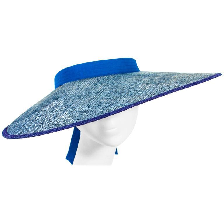 YVES SAINT LAURENT RIVE GAUCHE Blue Runway Visor For Sale