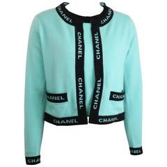 """Chanel Turquoise Cashmere Black """"Chanel"""" Piping Trim Twin-Sets"""