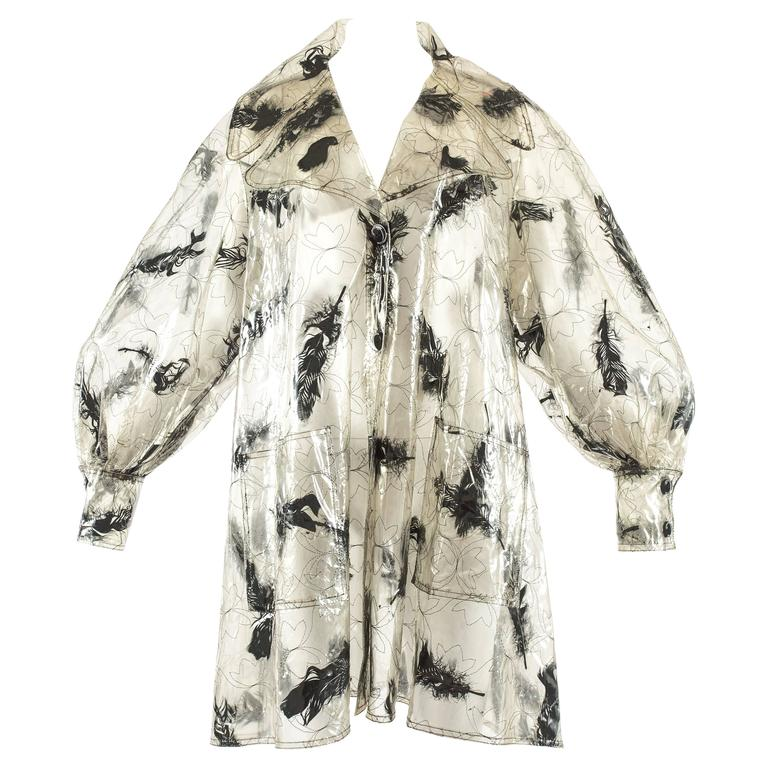 Paco Rabanne 1960s plastic swing coat with incased real black feathers