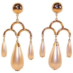 1970's Large Pearl Dangle Chandelier Earrings