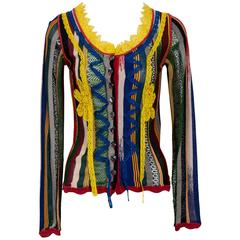 Vintage 90's JEAN PAUL GAULTIER Multi Colour Cardigan