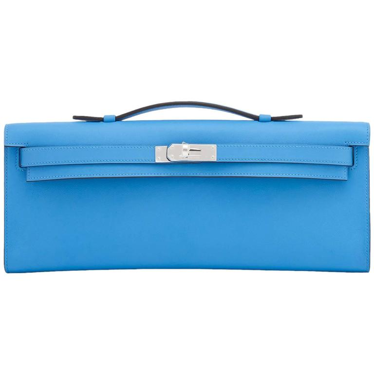 Hermes Blue Paradise Kelly Cut Pochette Clutch Bag Swift Palladium