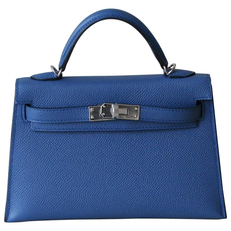 HERMES Mini Kelly Sellier Bleu Agathe 1