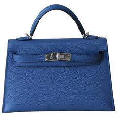 HERMES Mini Kelly Sellier Bleu Agathe