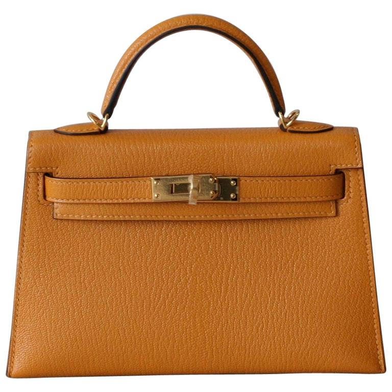 HERMES Mini Kelly Sellier Moutarde For Sale