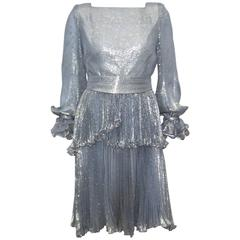 Micro Pleated 1970's Metallic Jacquard Cocktail Dress