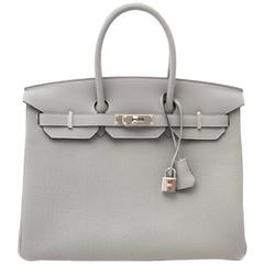 Brand New Hermes Birkin 35cm Bicolor Gris Mouette Togo And Blue Agathe