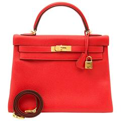 BRAND NEW Hermes Kelly Clemence Taurillon Rouge Tomate 32