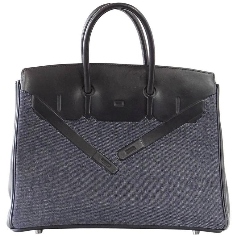 Hermes Birkin 35 Bag Rare Limited Edition Shadow Denim