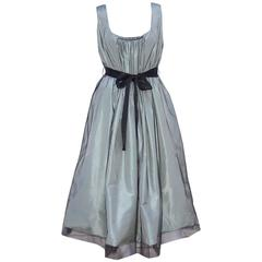 C.2000 Oscar de la Renta Sage Green Taffeta Dress With Black Tulle Overlay