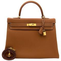 Brand New Hermes kelly 35 Gold Togo GHW