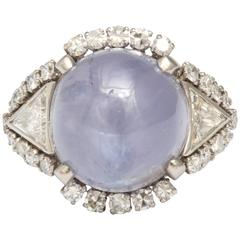 Beautiful Star Sapphire and Diamond Platinum Ring