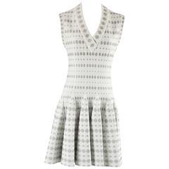 Alaia Ivory Textured Metallic Knit Dress - 42