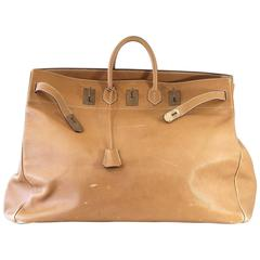 Hermes Birkin Bag  60 Vintage Celebrity Owned Hac Gold Ardennes Brass