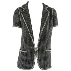 Chanel Black Tweed Short Sleeve Jacket with Gripoix Buttons - 40 - NWT rt $6955