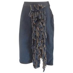 Moschino Denim Cotton Leaves Skirt