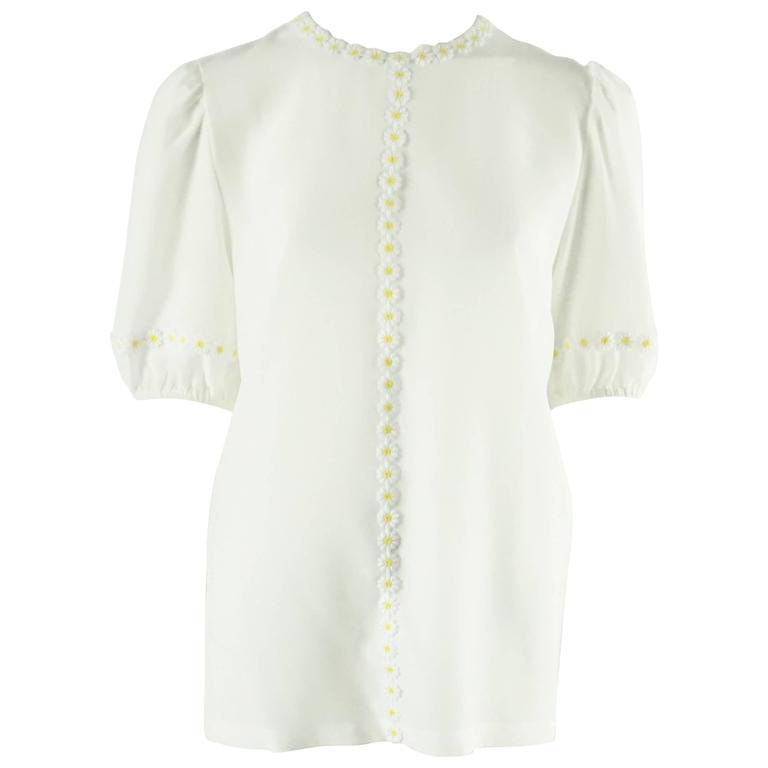 Dolce & Gabbana White Silk Chiffon Top with Daisy Lace Trim - 42 - NWT 1