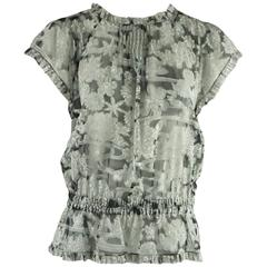 Chanel Gray Floral Silk Chiffon Top and Shawl - 40