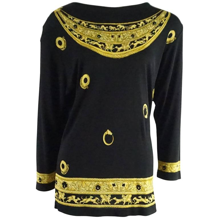 Hermes Black and Yellow Print Jersey Top - M - circa 1970's  1