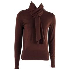 Hermes Burgundy Cashmere Sweater with Attached Scarf - 40