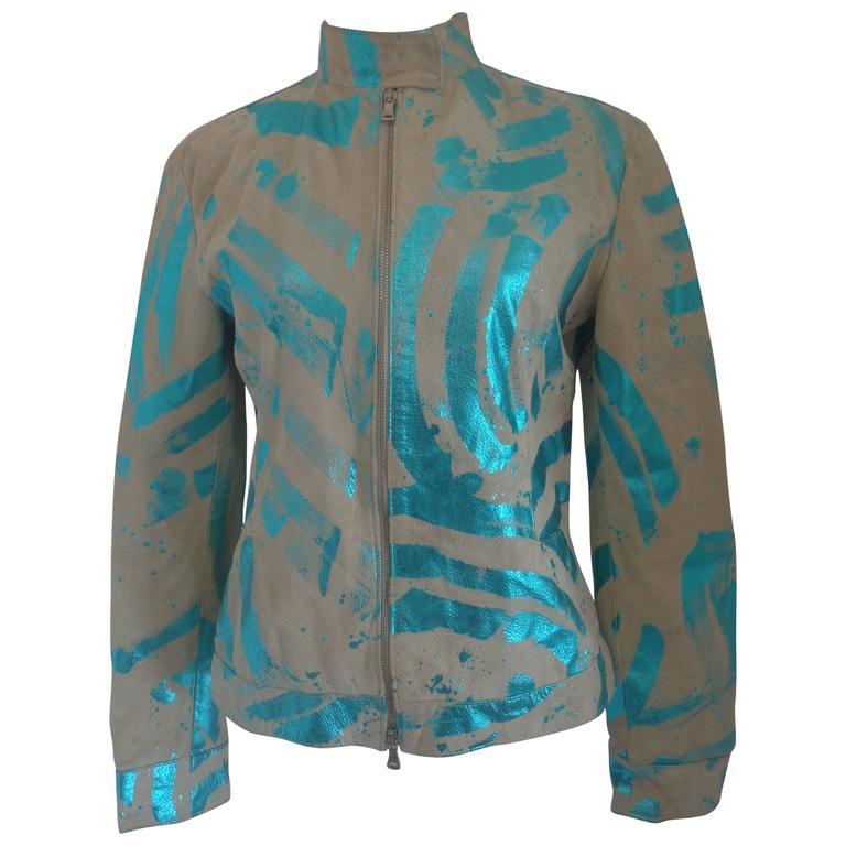 Vintage Beije Turquoise print Leather Jacket