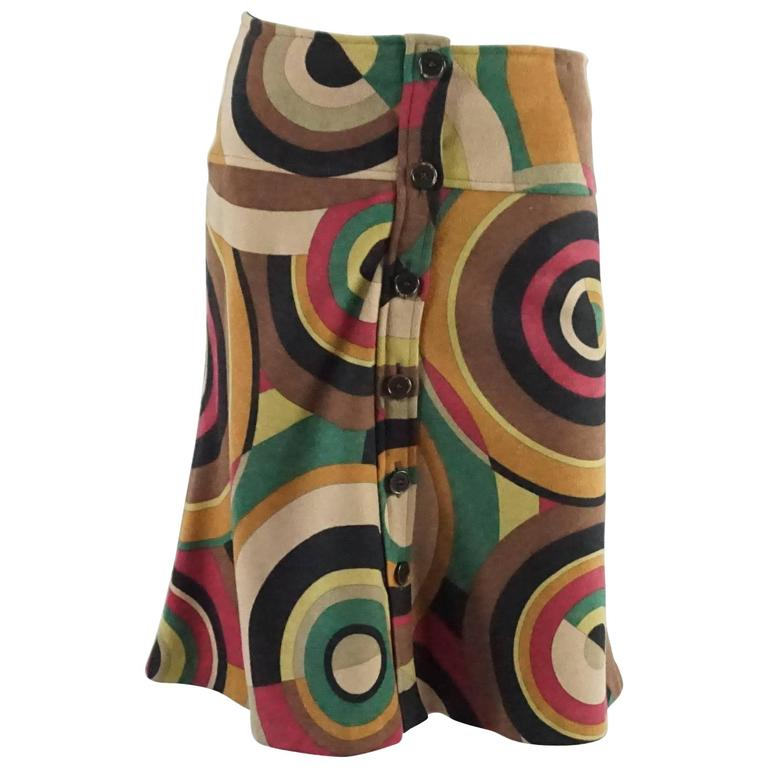 Etro Tan, Red, and Green Mod Print Wool Skirt - 42
