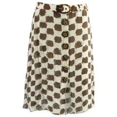 Valentino Brown and Ivory Printed Silk Chiffon Skirt - 8 - 1980's