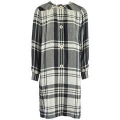 Celine Black and White Window Pane Print Silk Shirt Dress - M - 1980's